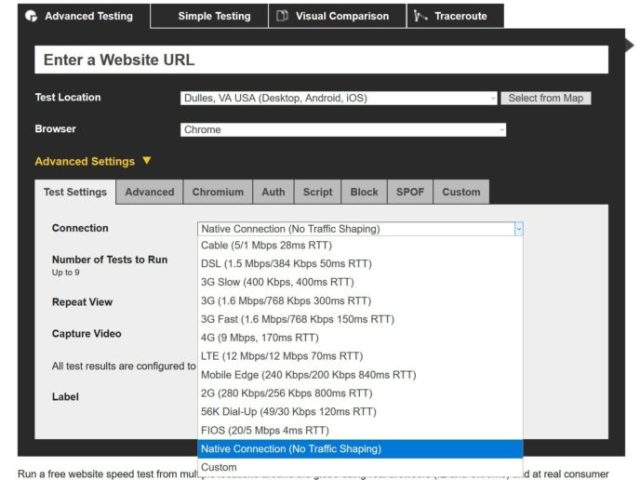WebPageTest connection speeds