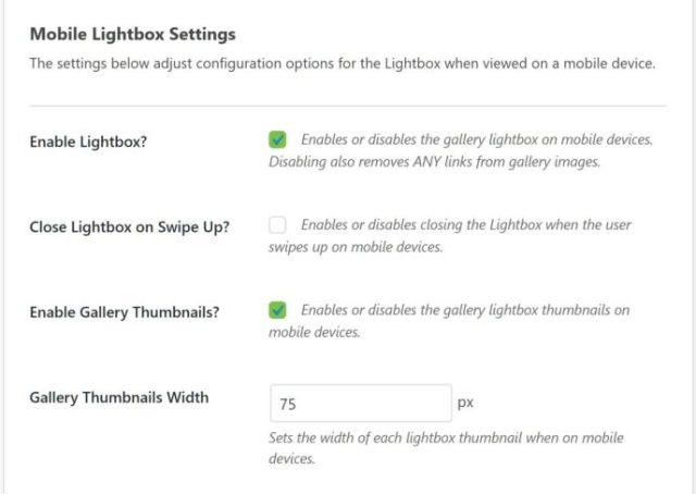 Mobile Lightbox Settings
