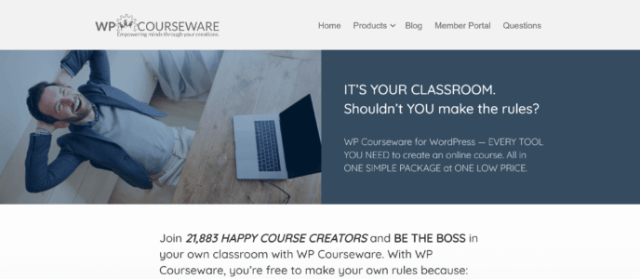 WP Courseware review: WP Courseware home page