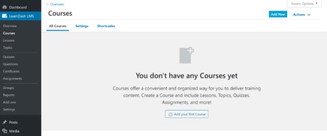 LearnDash Courses Area