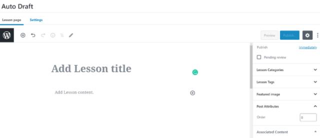LearnDash Lesson Editor