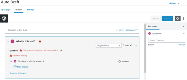 LearnDash vs WP Courseware: LearnDash Quiz Editor 3