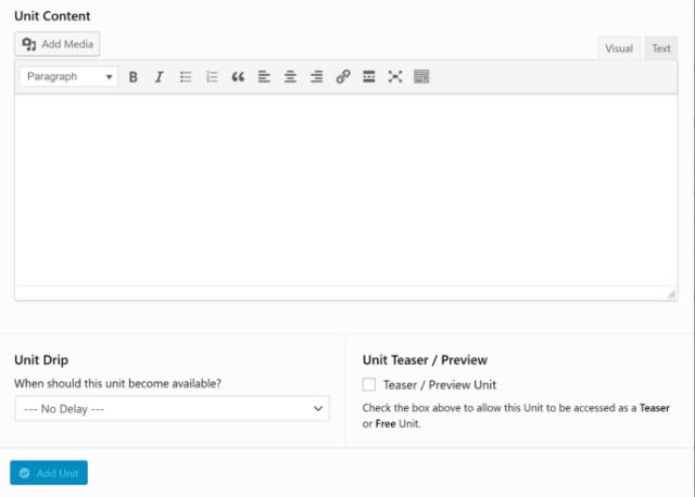 WP Courseware Unit Editor