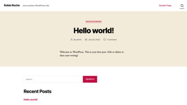Wix vs WordPress: WordPress blank site