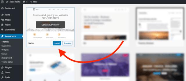WordPress install a theme