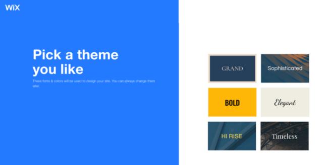 Wix vs WordPress: pick a theme in Wix