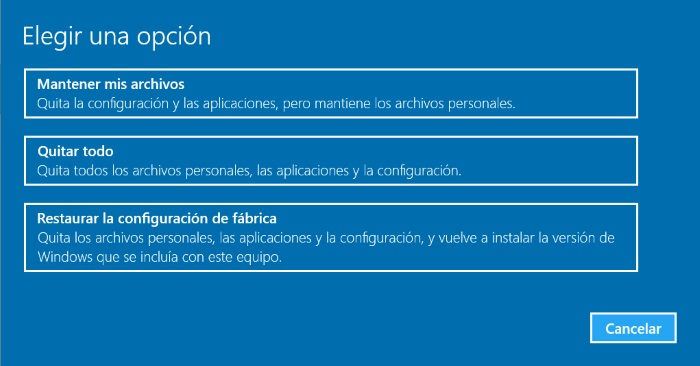 tipos de hard reset en windows 10