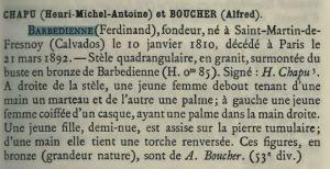 Chapu et Boucher Tombe Barbedienne