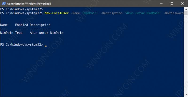 Membuat User Baru di Windows 10 dengan PowerShell