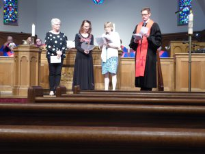 Stephen Ministers, Nancy Galyean and Julie Kent, are commissioned before the congregation.