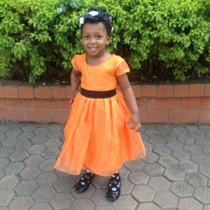 Orange Organza Dress For Girls