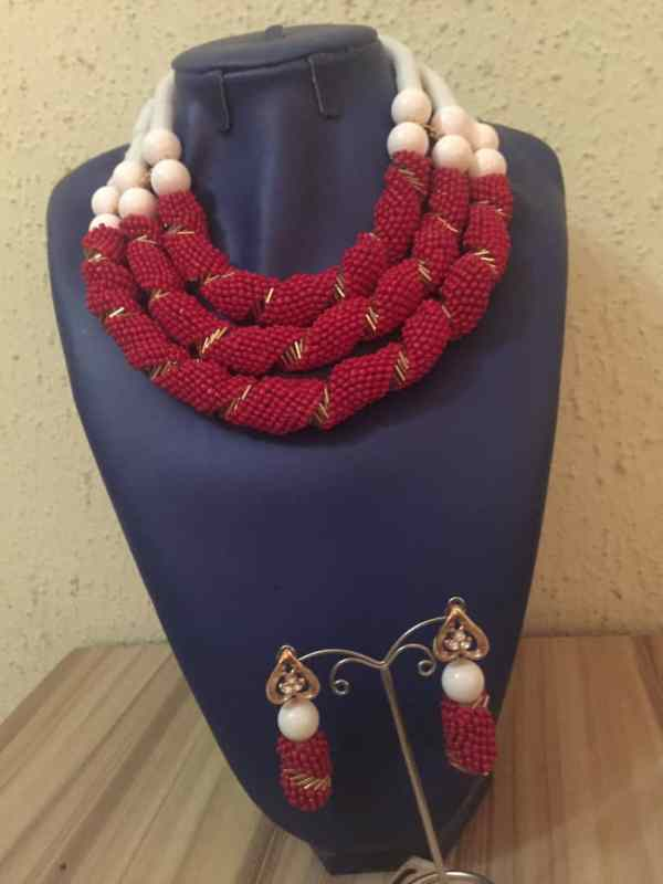 3 Layer Beaded Costume Necklace - White and Red
