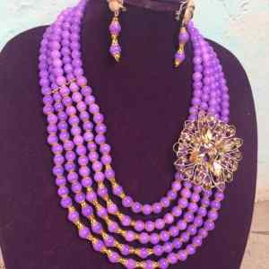 5 Layers Purple Mini Ball Shaped Bead Necklace With Brooch