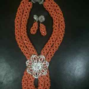 Royal Set of Beaded Jewelry - Coral