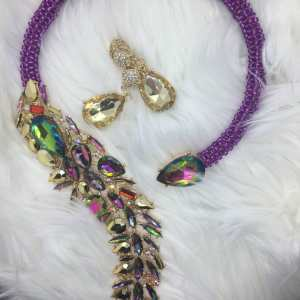 Exquisite Beaded Necklace - Purple