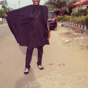 Men's Short Sleeves Agbada Native Black