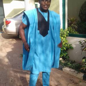 Men's Short Sleeves Agbada Native – Blue