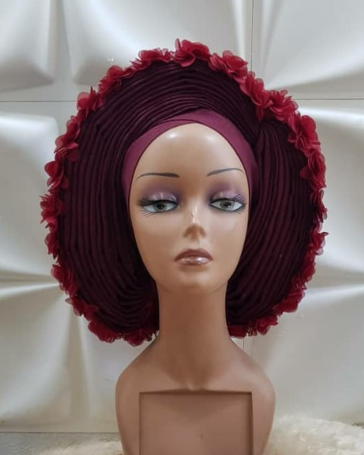 Red Feather Autogele - Ready To Wear Gele