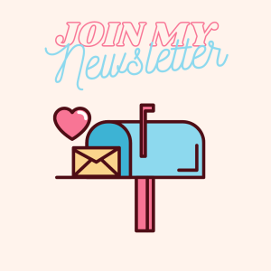 Join my Newsletter Winnie Tataw graphic with blue and pink mail box