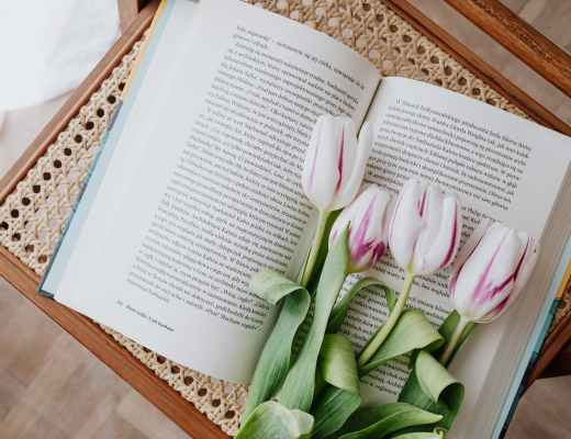 composition of fresh romantic flowers on open book arranged on vintage wicker table at home