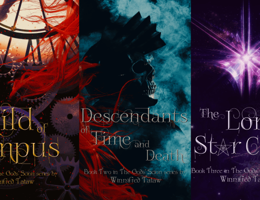 The first three book covers of the Gods' Scion series