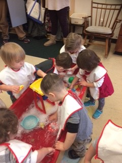 Sensory table with water and bubbles!