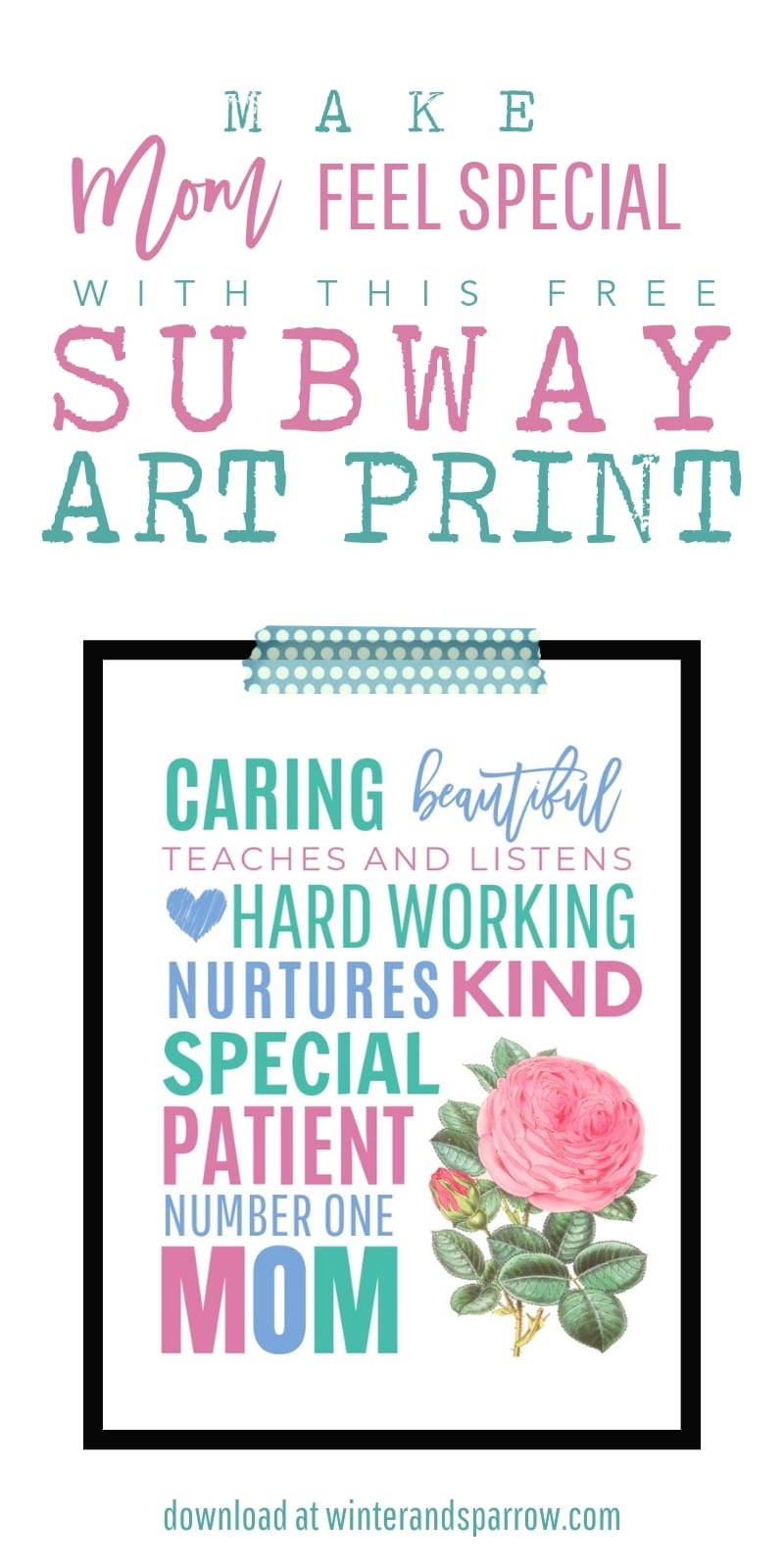 Free Mothers Day Printable: Give Mom A Framed Subway Art Print | winterandsparrow.com #subwayartprint #mothersdayprintable #mothersdaysubwayart #freemothersdayprintable