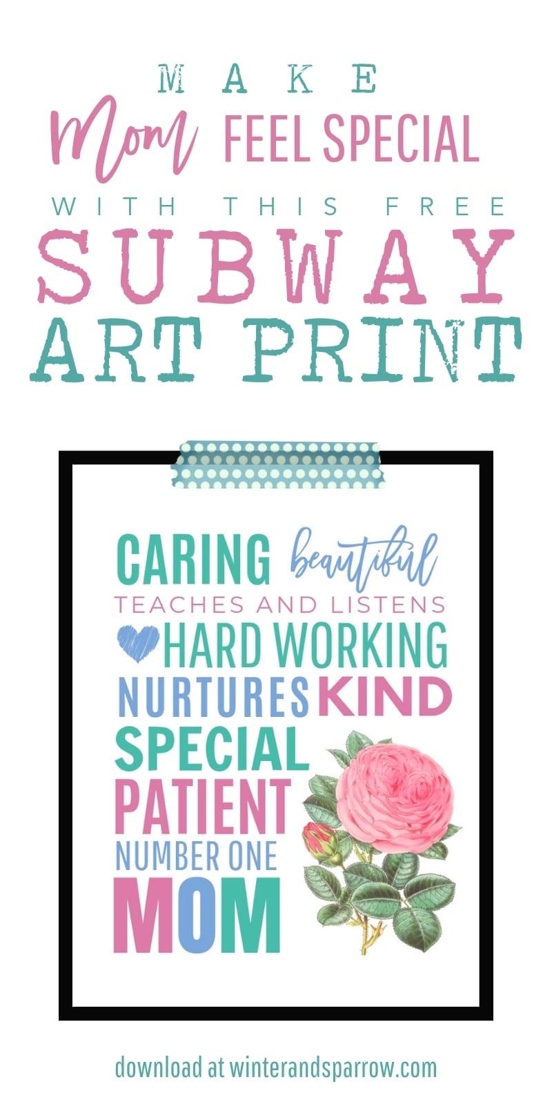 Free Mothers Day Printable: Give Mom A Framed Subway Art Print | winterandsparrow.com #subwayartprint #mothersdayprintable #mothersdaysubwayart #freemothersdayprintable