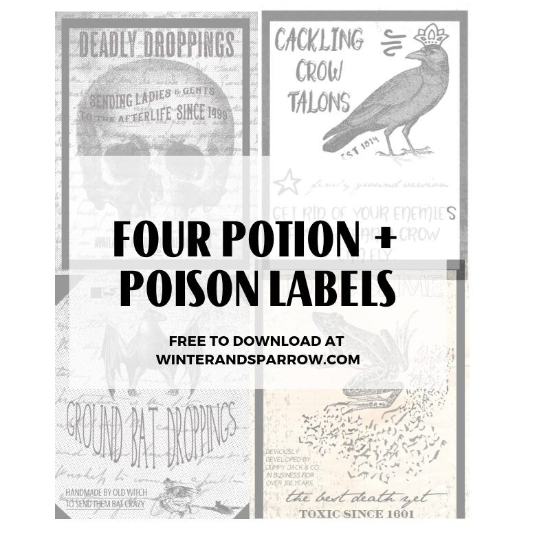 Printable Potion Labels: Four Halloween Potion + Poison Labels {free to download} | winterandsparrow.com #halloween #potionlabels #poisonlabels #printablepotionlabels