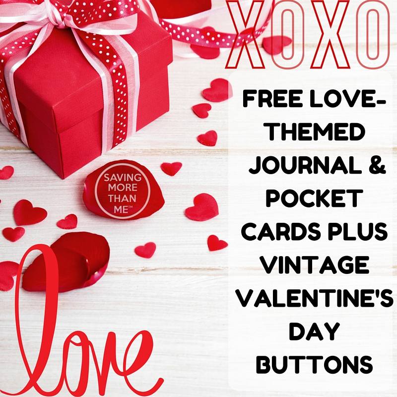 Love-Themed journal and pocket cards + vintage valentine's day buttons {free}