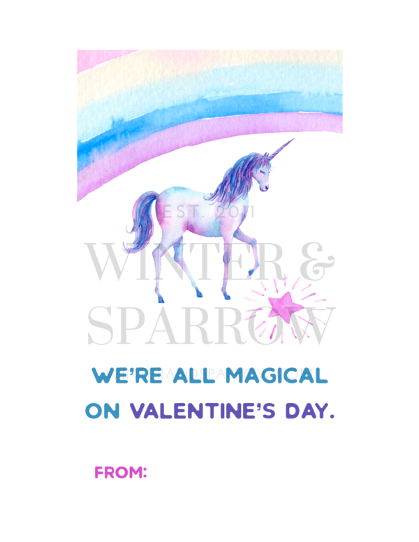 Magical Unicorn Valentine's Day Cards | Download for free at winterandsparrow.com #valentinecards #cutevalentine