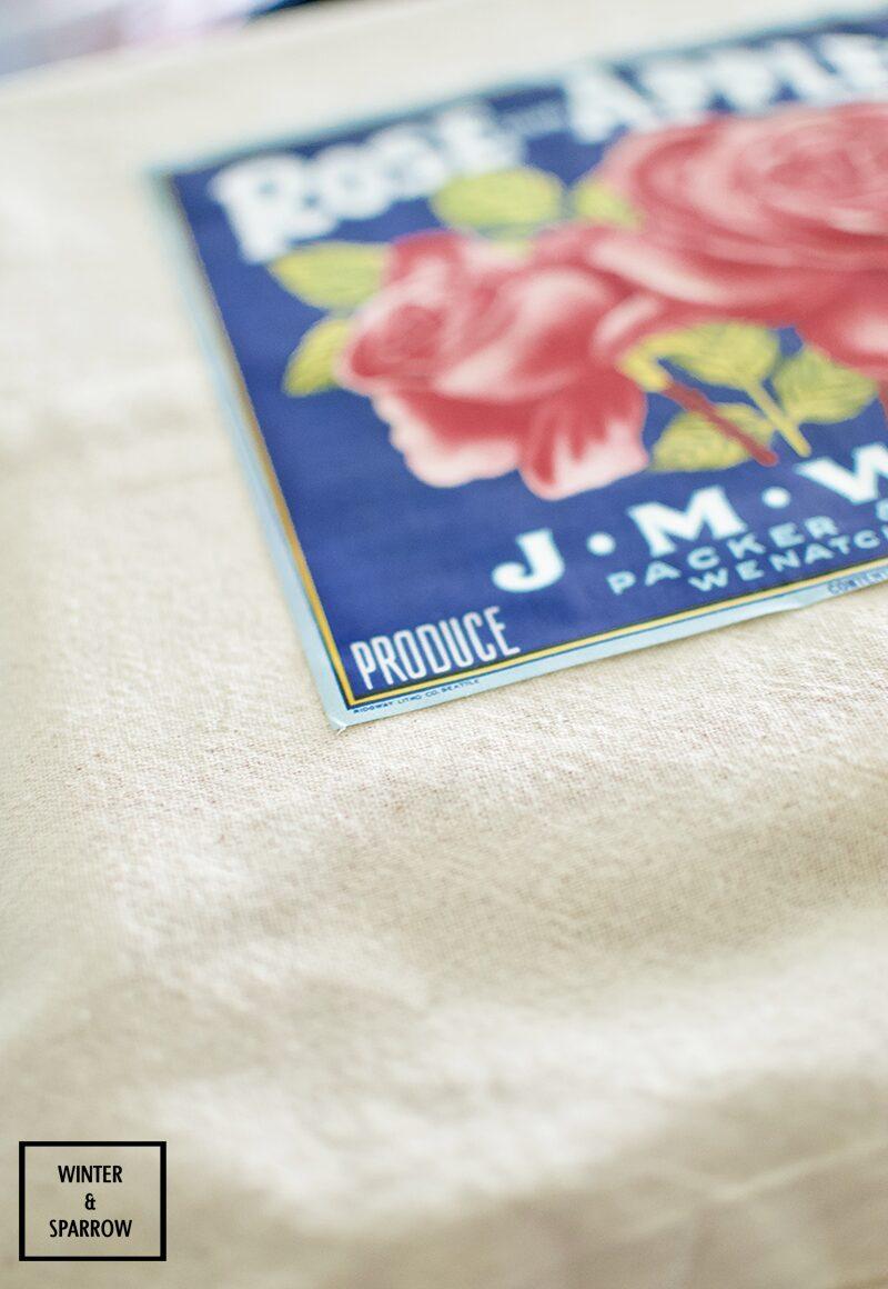DIY: Bright and Colorful Vintage Fruit Label Pillows #CraftRoomDestashChallenge | winterandsparrow.com #summerproject #summercraftideas