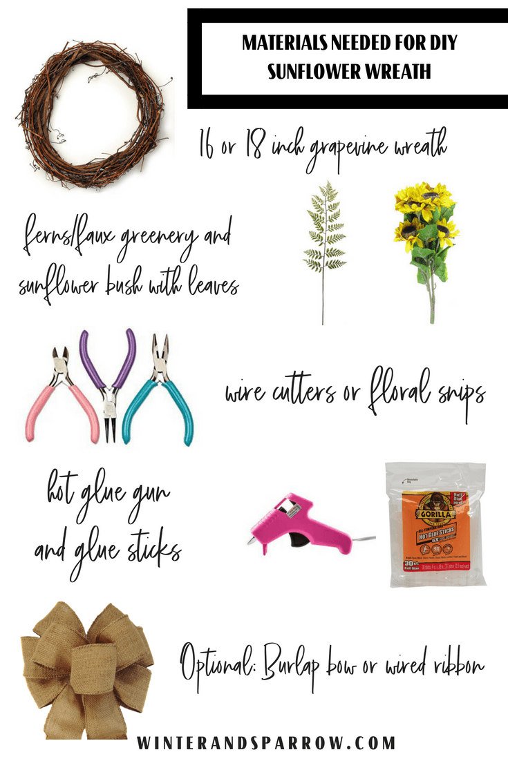 DIY: Make A Sunflower Wreath In 5 Easy Steps (Bonus Video Tutorial) | winterandsparrow.com #sunflowerwreath #fallwreathideas #fallwreaths #diysunflowerwreath #easywreath