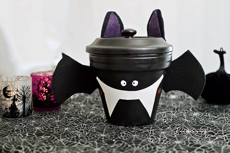 Skip the Store Bought One! Make This Cute and Original Bat Candy Dish Instead! #halloween #halloweencrafts #batcandydish #diycandydish | winterandsparrow.com