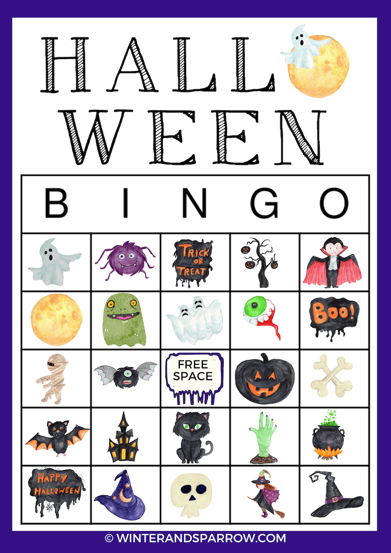 Halloween Printable BINGO Cards:  Includes Four Different Cards Plus Calling Cards | winterandsparrow.com #halloweenbingo #halloweenprintables #bingocards #printablebingocards