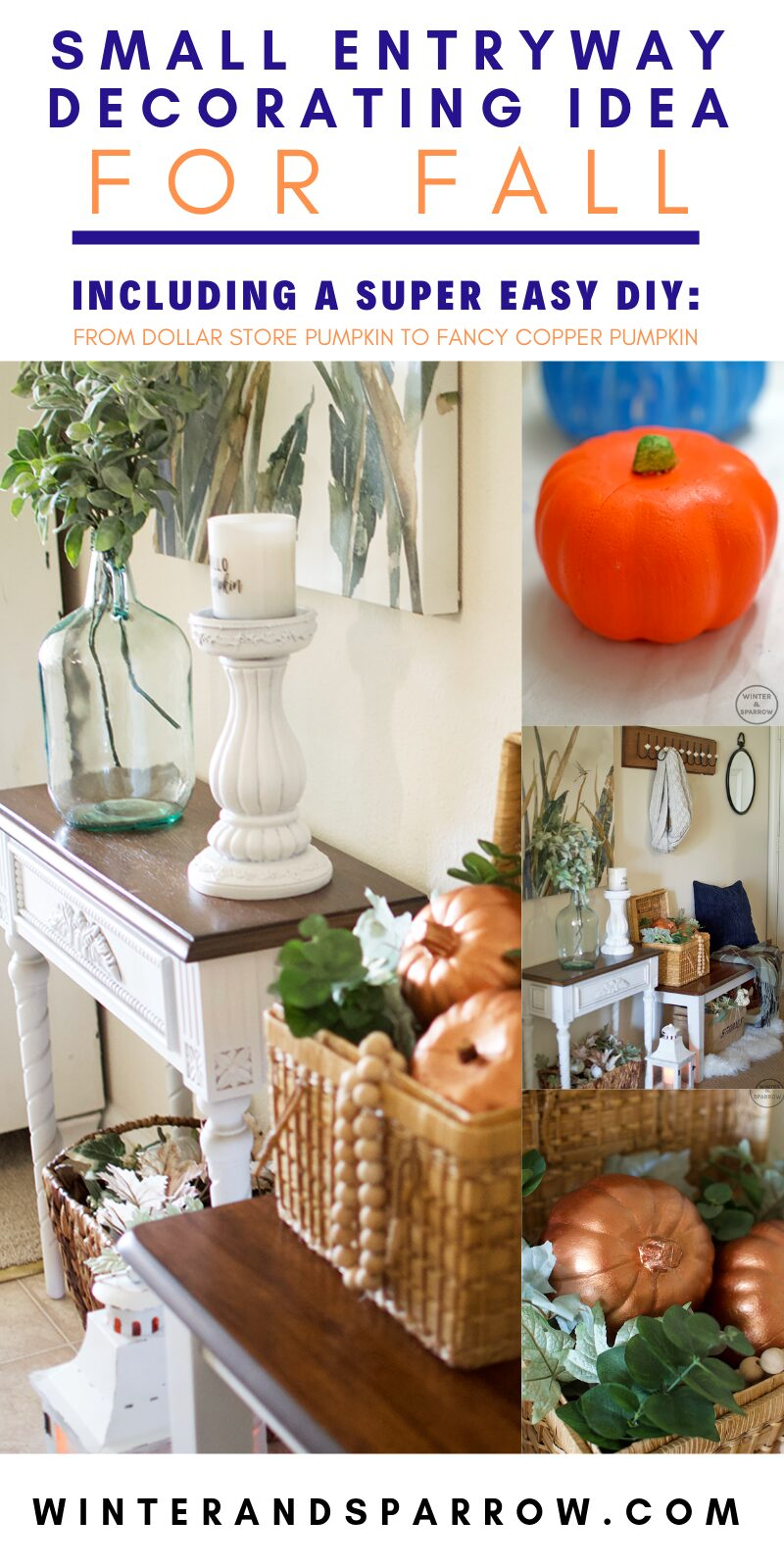 Small Entryway Decorating For Fall + How To Transform A Dollar Store Pumpkin Into A Fancy Copper Pumpkin | winterandsparrow.com #decoratingforfall #copperpumpkin #metalliccopper #thriftstoreshopping