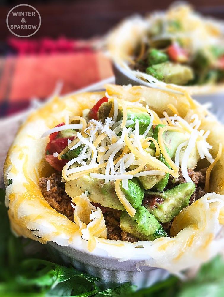Keto Tacos with Avocado Salsa   winterandsparrow.com  Picture of a keto taco bowl. #ketorecipes #TacoTuesday #TacoThursday #TacosEveryday