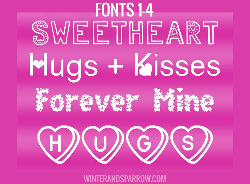 8 Free Love Fonts with Hearts ❤️ | winterandsparrow.com #lovefonts #lovefontswithhearts #valentinefonts #freevalentinesdayfonts