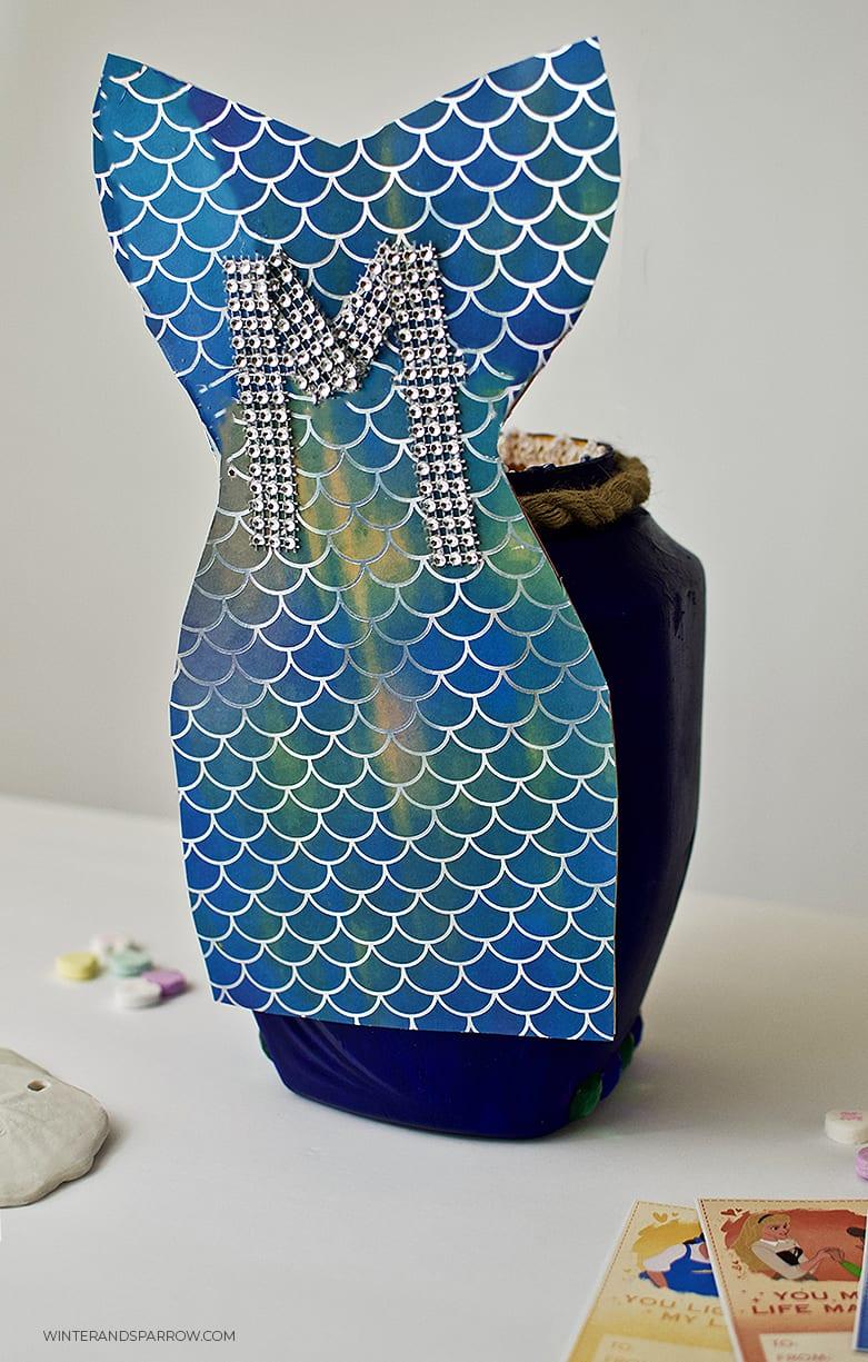 Mermaid DIY Idea: Valentine Card Box or Birthday Party Box   winterandsparrow.com #mermaiddiyideas #mermaiddiy #mermaidbirthdayparty #mermaidpartyideas