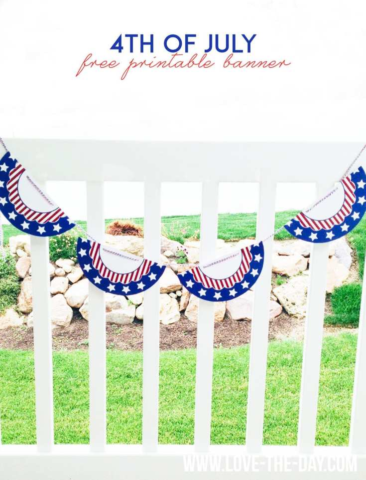 Free Printable 4th of July Bunting by Lindi Haws of Love The Day