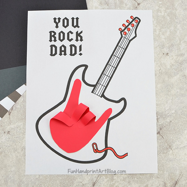 'Dad You Rock Card' for Father's Day – Printable Guitar Template