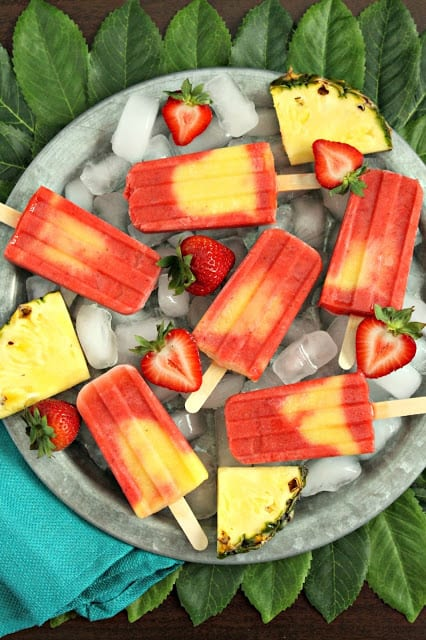 Pineapple Strawberry Swirl Fruit Pops