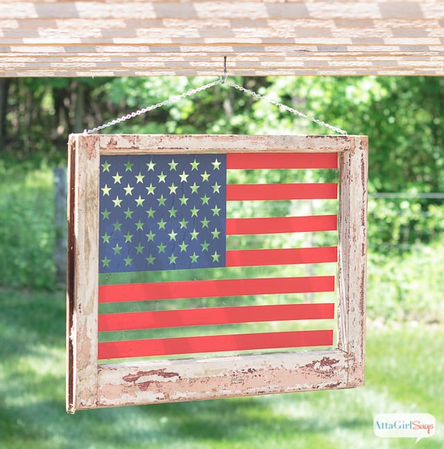 DIY American Flag Art from an Old Window