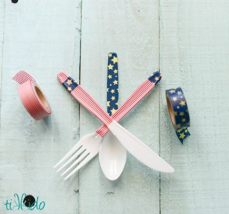 Easy Decorated Silverware Tutorial Using Washi Tape