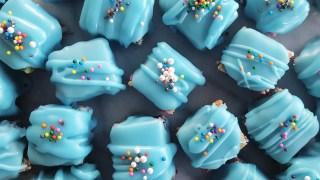 Rainbow Cake Funfetti Petit Fours with Vanilla Fondant Icing