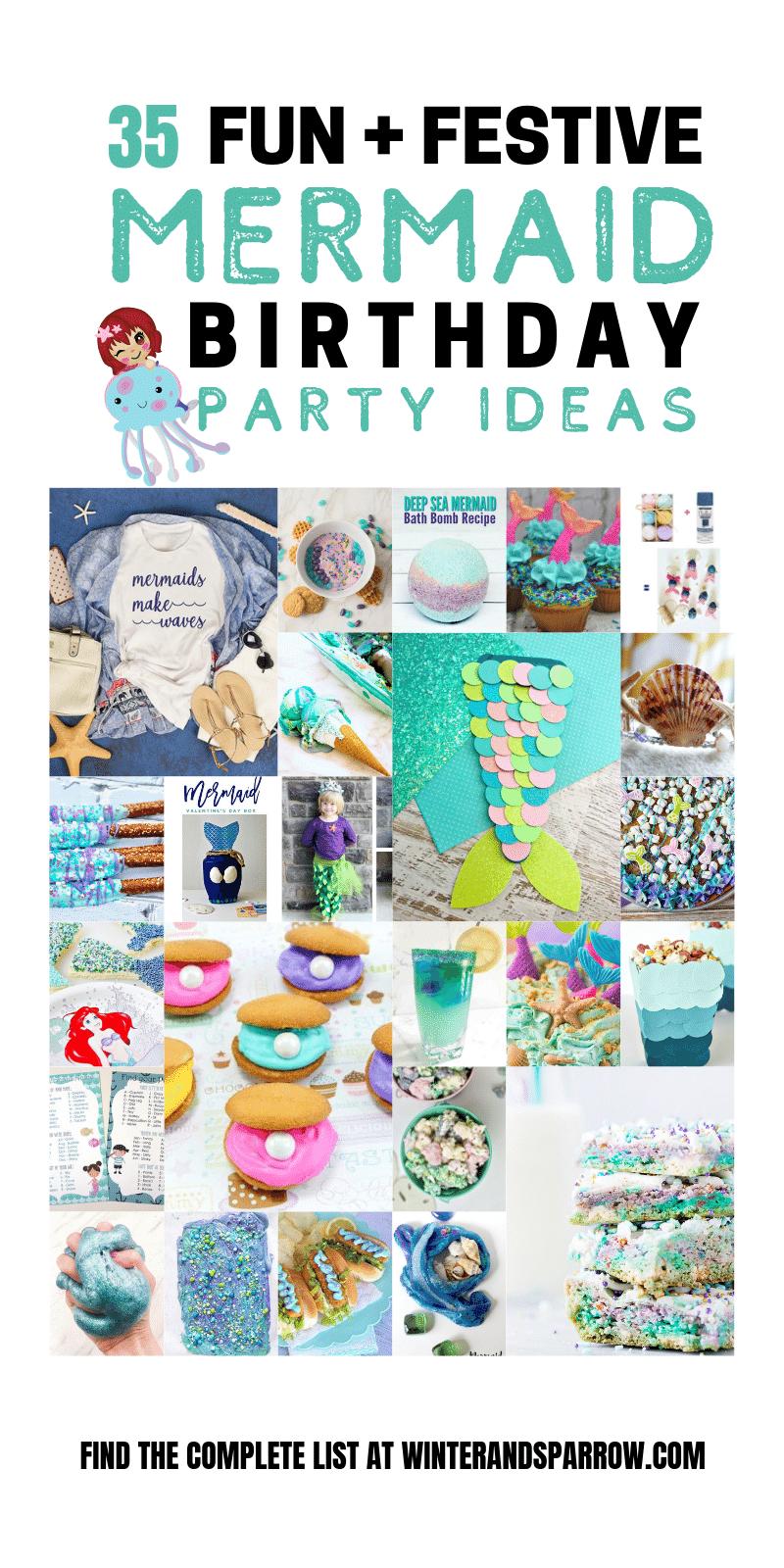 35 Fun + Festive Mermaid Birthday Party Ideas | winterandsparrow.com #mermaidbirthdayparty #mermaidbirthdaypartyideas #mermaidrecipes #mermaidcrafts #mermaidprintables #mermaidbirthday