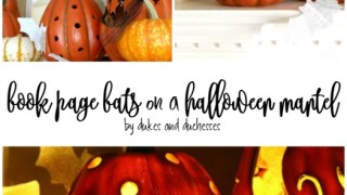 Book Page Bats on a Halloween Mantel