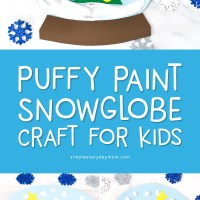 A Winter Themed Puffy Paint Snowglobe Craft For Kids
