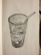 still life drawing, ice drawing, glass drawing, water drawing