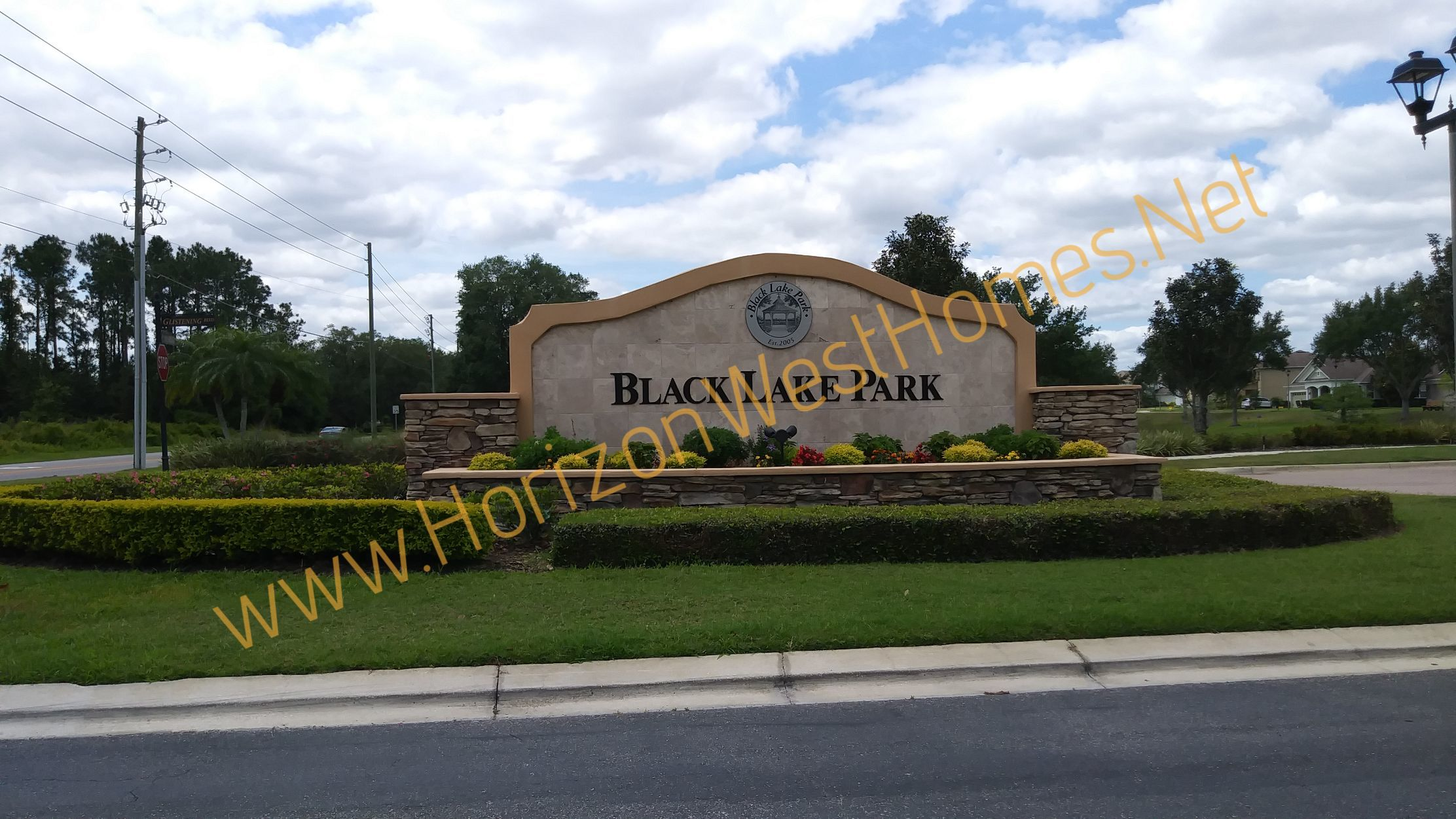 Black Lake Park. homes for sale Winter Garden Florida Entrance Sign. Real estate. gated community
